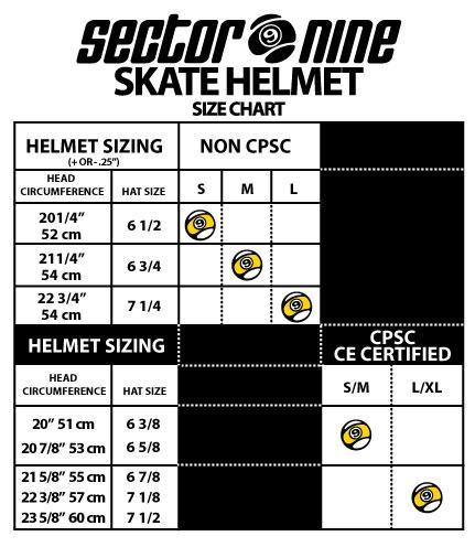 Sector 9 Size Chart -  https://www.southport-rigging.com/images/description/skate/sector9-helmetsize.jpg