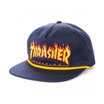Thrasher Flame Rope Snapback Hat (Navy Blue)