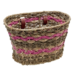 ELECTRA Woven Palm Frond Natural Espresso Pink Basket